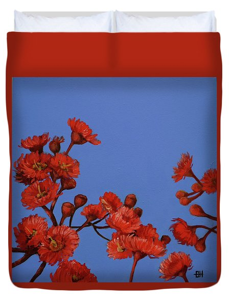 Red Gum Blossoms Duvet Cover