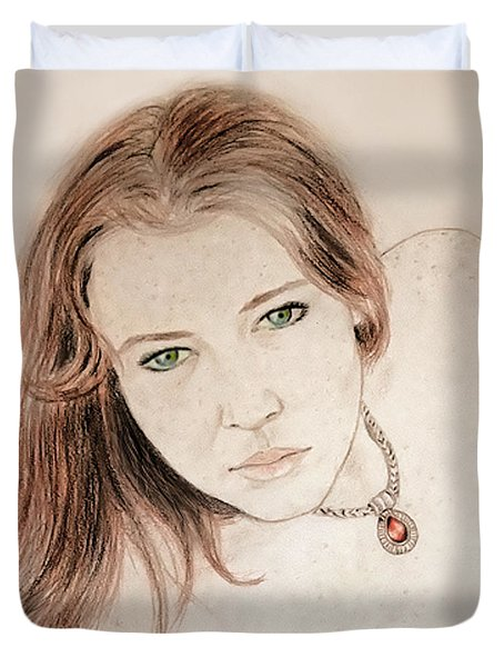 Red Hair And Freckled Beauty Duvet Cover by Jim Fitzpatrick