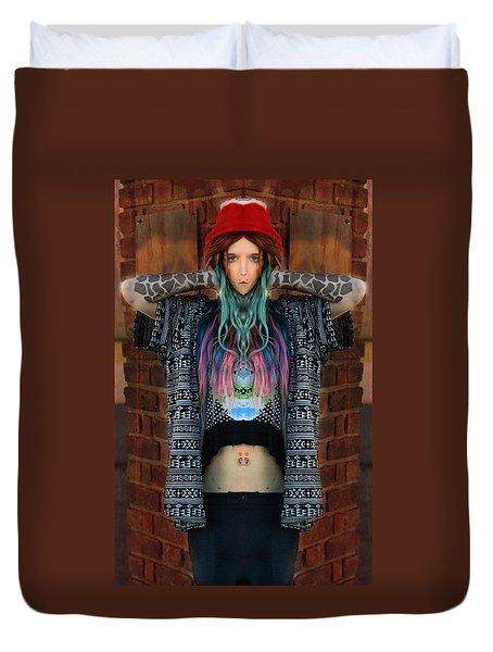 Red Hat Grunge Duvet Cover