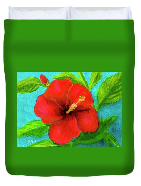 Red Hawaii Hibiscus #238  Duvet Cover by Donald k Hall