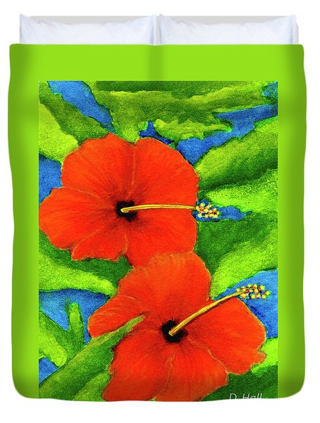 Red Hawaii Hibiscus Flower #267 Duvet Cover by Donald k Hall