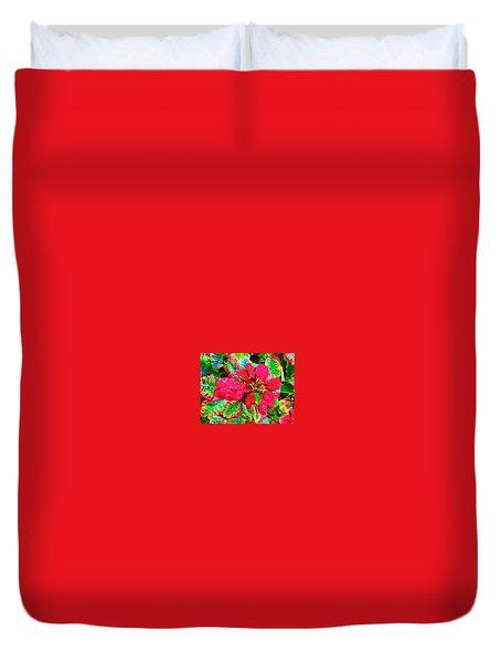 Red Hawaiian Poinsettia Duvet Cover