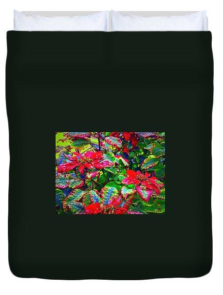 Red Hawaiian Poinsettias In Puna Duvet Cover