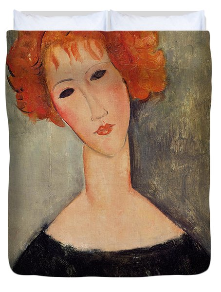 Red Head Duvet Cover by Amedeo Modigliani
