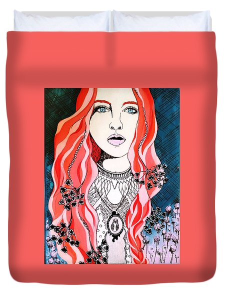 Red Head Duvet Cover by Amy Sorrell
