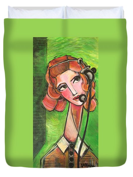 Duvet Cover featuring the painting Red Headed Operator by Laurie Maves ART