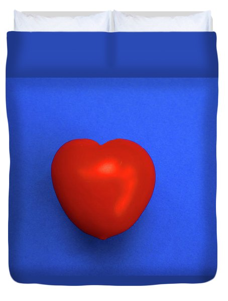 Red Heart Tomato On Blue Duvet Cover