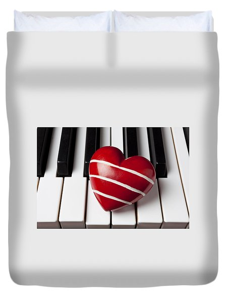 Red Heart With Stripes Duvet Cover by Garry Gay