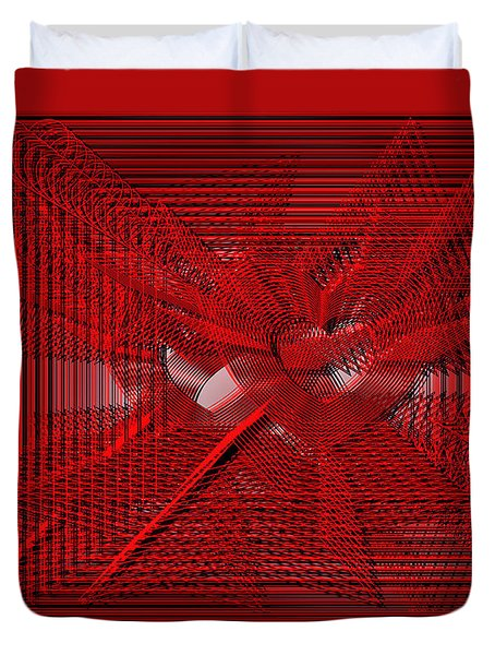 Red Heartwires Duvet Cover