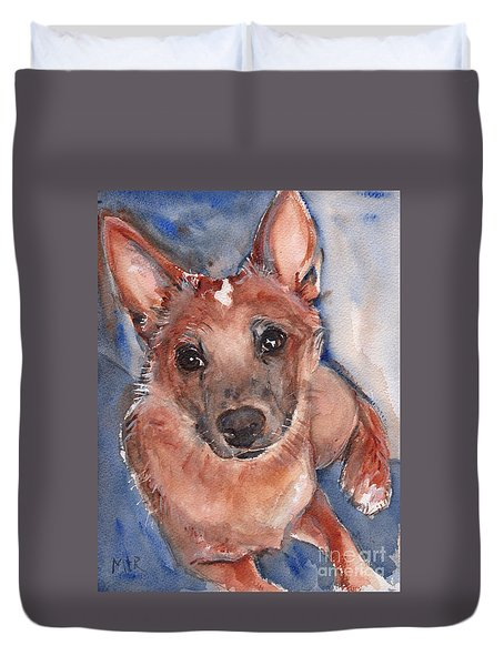 Red Heeler Pup Duvet Cover by Maria's Watercolor