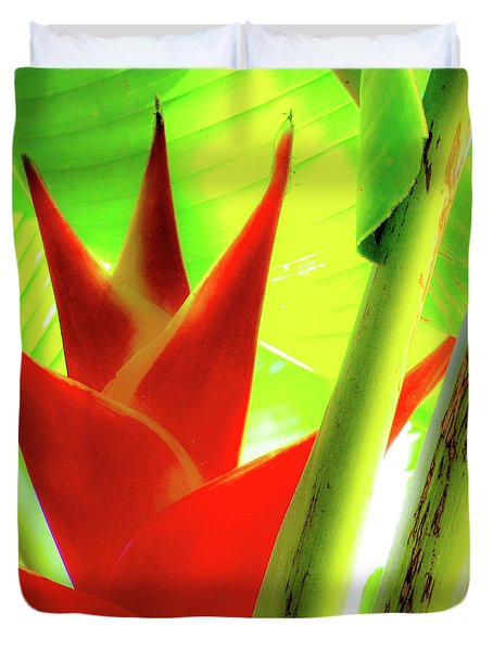 Red Heliconia Plant Duvet Cover