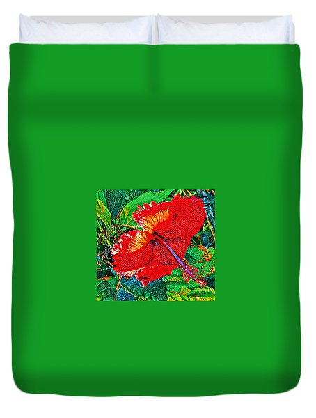 Red Hibiscus Aslant Duvet Cover