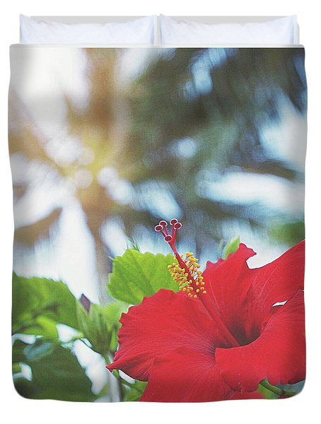 Duvet Cover featuring the photograph Red Hibiscus by Cindy Garber Iverson