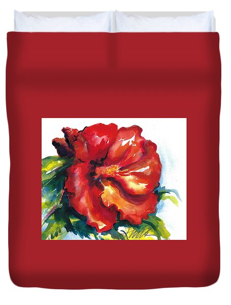 Fireball Red Hibiscus Duvet Cover