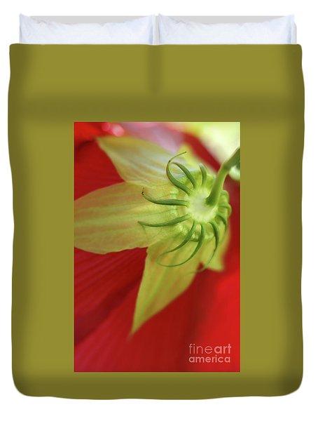 Red Hibiscus Macro Duvet Cover