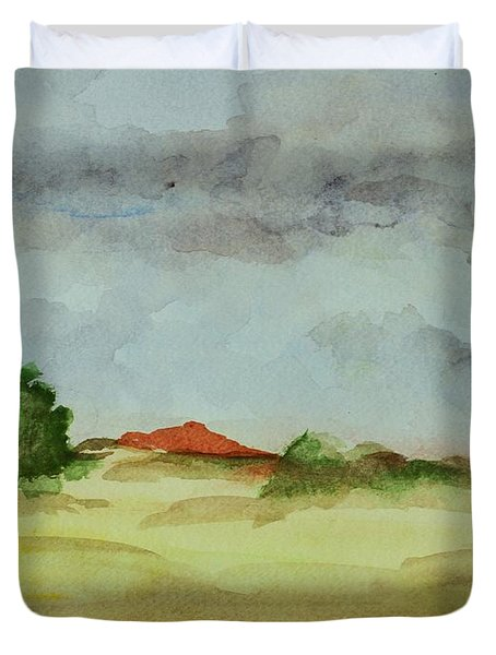 Duvet Cover featuring the painting Red Hill Landscape by Vonda Lawson-Rosa
