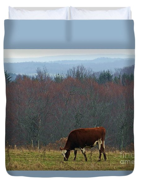 Duvet Cover featuring the photograph Red Holstein Of The Hills by Christian Mattison