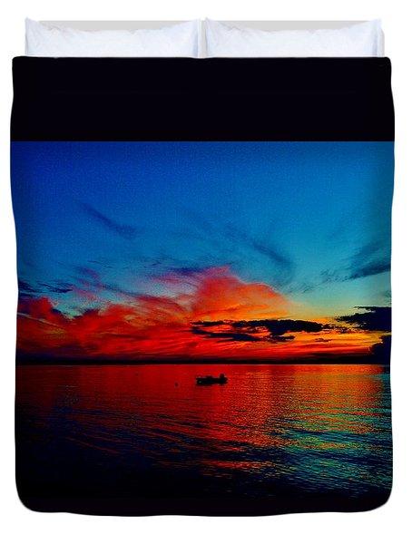 Red Horizon Duvet Cover