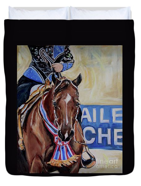 Red Horse, With Show Ribbon Duvet Cover