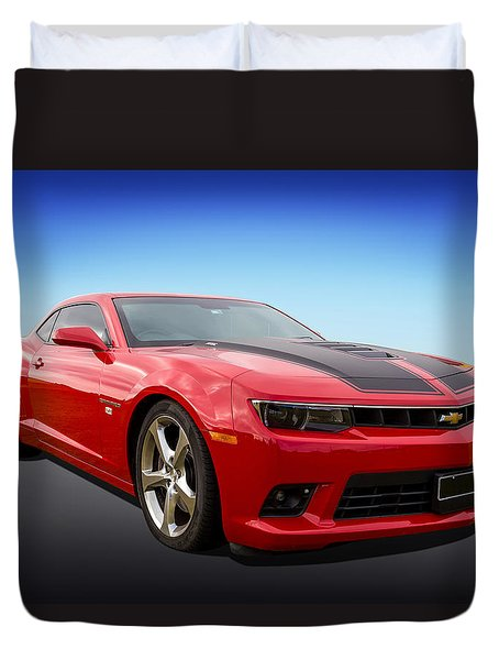 Duvet Cover featuring the photograph Red Hot Camaro by Keith Hawley