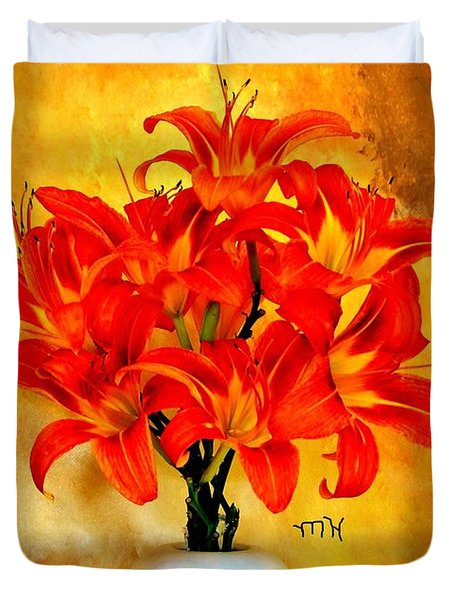 Red Hot Lilies Duvet Cover