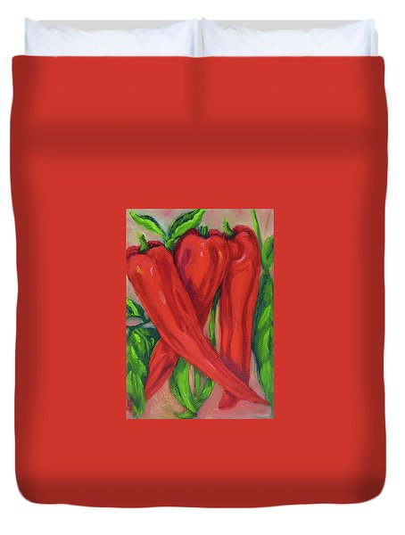 Red Hot Peppers Duvet Cover
