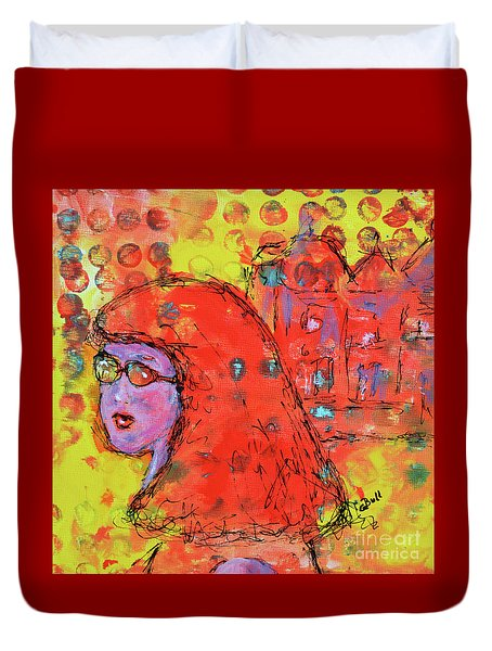 Duvet Cover featuring the painting Red Hot Summer Girl by Claire Bull