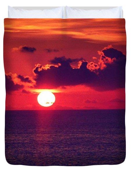 Red Hot Sun Set #peace Duvet Cover