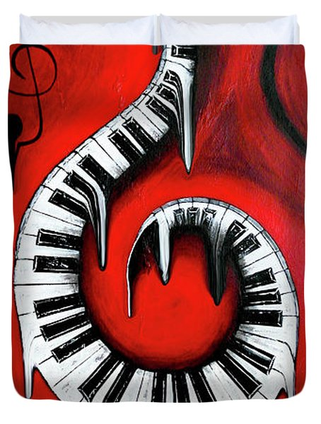 Red Hot - Swirling Piano Keys - Music In Motion Duvet Cover