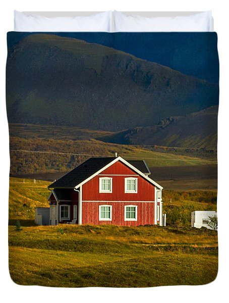 Red House And Horses - Iceland Duvet Cover