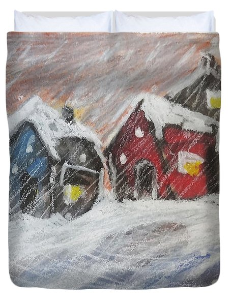 Red House In The Snow Duvet Cover