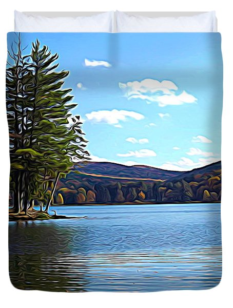 Red House Lake Allegany State Park In Autumn Expressionistic Effect Duvet Cover