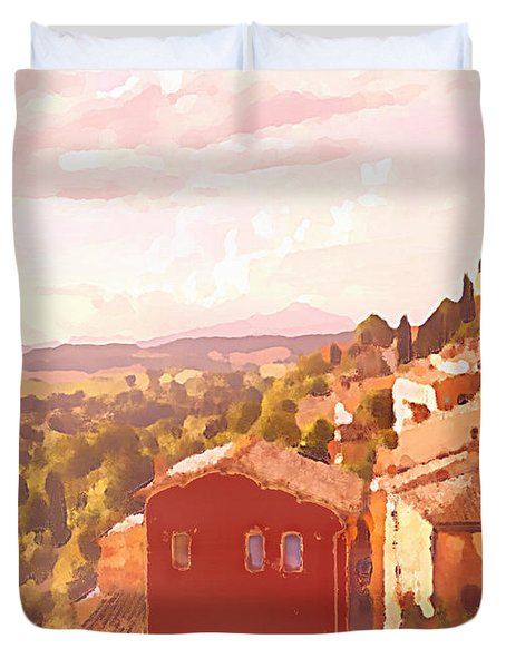 Red House On A Hill Duvet Cover