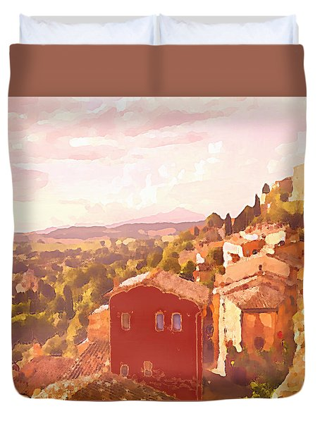 Duvet Cover featuring the digital art Red House On A Hill by Shelli Fitzpatrick