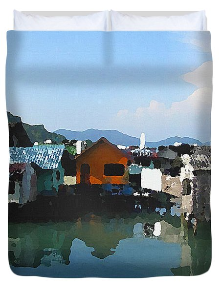 Red House On The Water Duvet Cover