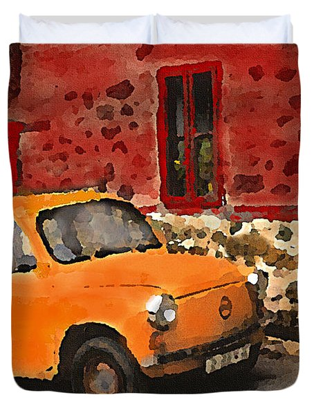 Red House With Orange Car Duvet Cover