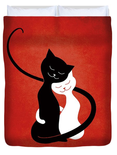 Red Hugging Love Cats Duvet Cover