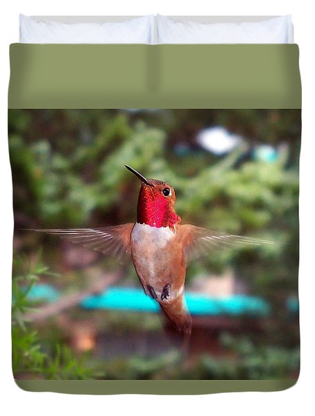 Red Hummingbird Duvet Cover by Joseph Frank Baraba