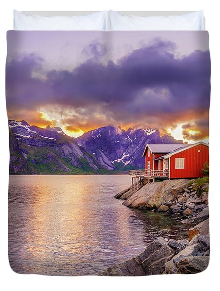Duvet Cover featuring the photograph Red Hut In A Midnight Sun by Dmytro Korol