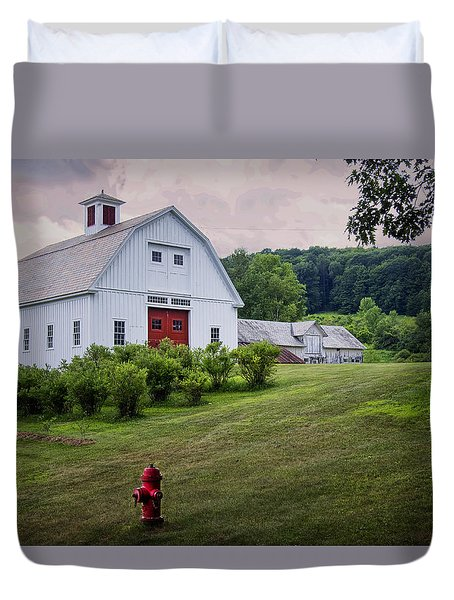 Duvet Cover featuring the photograph Red Hydrant by Tom Singleton