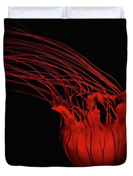 Red Jellyfish Duvet Cover by Denise Keegan Frawley