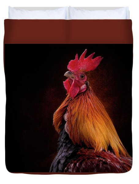 Red Jungle Fowl Rooster Duvet Cover