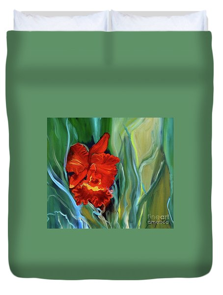 Red Jungle Orchid Duvet Cover