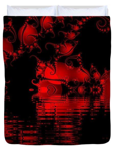 Red Lake Cave Fractal Duvet Cover