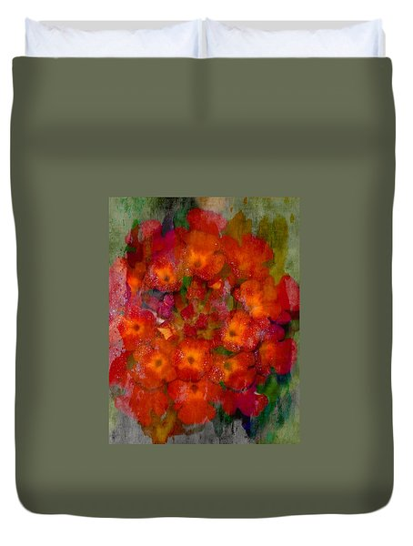Red Lantana Duvet Cover