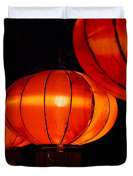 Red Lanterns Duvet Cover