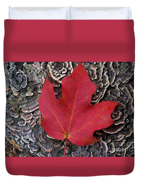 Duvet Cover featuring the photograph Red Leaf  by John S