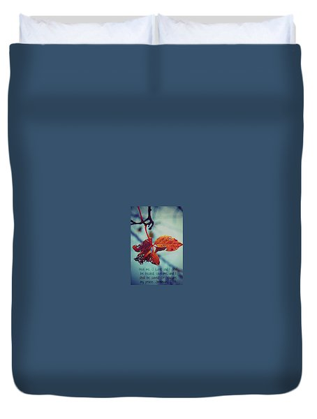 Duvet Cover featuring the photograph Red Leaf by Artists With Autism Inc