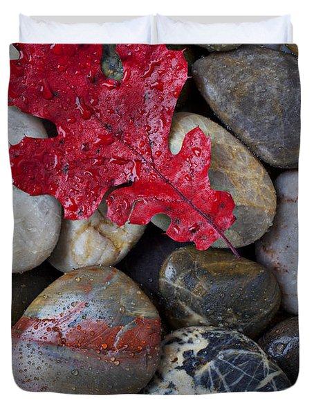 Red Leaf Wet Stones Duvet Cover
