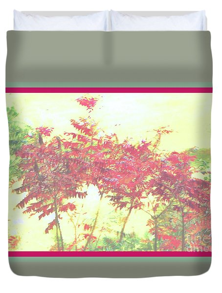 Red Leafs Duvet Cover